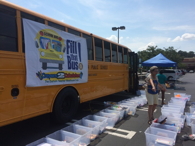Fill That Bus! is Crayons2Calculators' biggest donation drive.