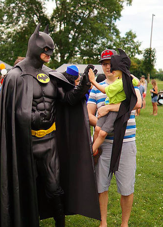 A meeting of superheroes at the annual EAB Festival.