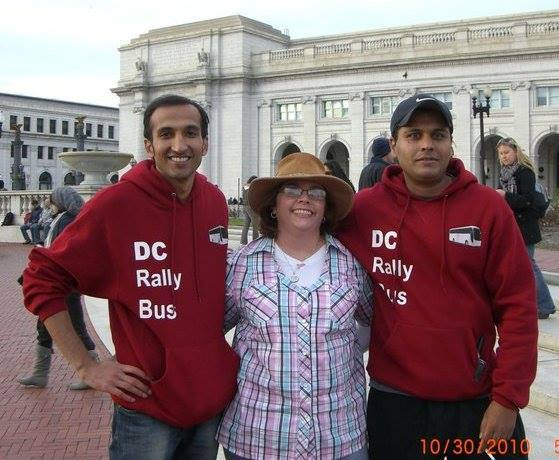 Numaan and event organizers at the Rally to Restore Sanity.