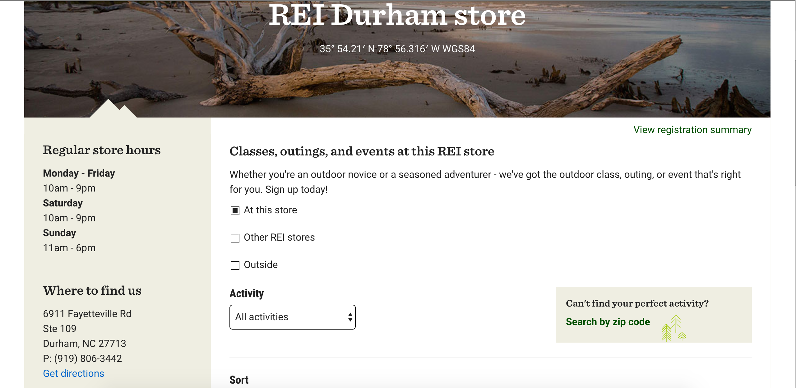 REI home page Durham